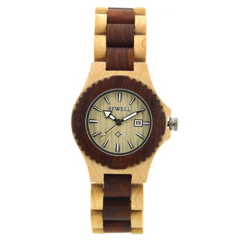 Bewell Ladies Bamboo Maple and Red Sandalwood Watch