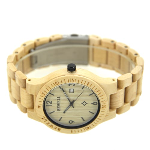 Bewell Retro Bamboo Maple Wood Watch