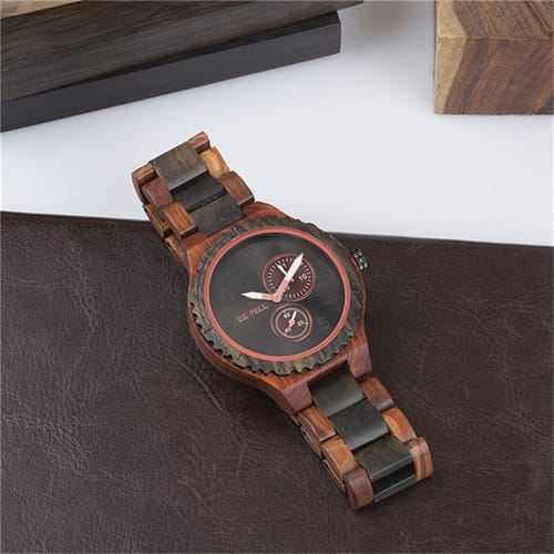 Bewell Classic Red & Black Sandalwood Watch