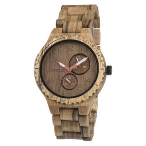 Bewell Classic Black Walnut Wood Watch