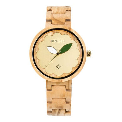 Bewell Ladies Classic Olive Wood Watch