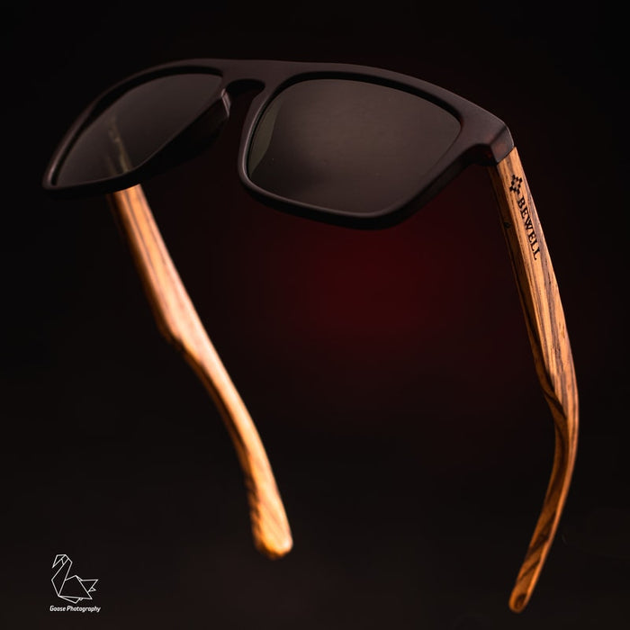 Wayfarer Style Brown Frame and Grey Lens Wood Sunglasses