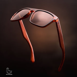 Wayfarer Style Testudinarious Frame and Brown Lens Wood Sunglasses