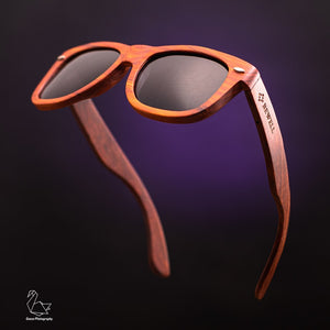 Red Sandalwood Frame and Black Polarized Lens Wood Sunglasses