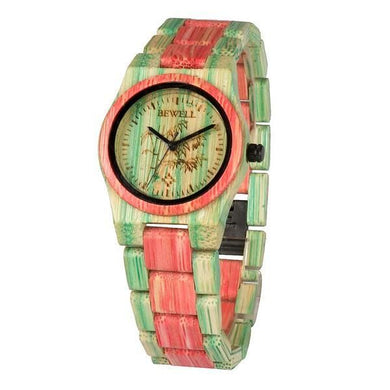 Bewell Ladies Woman Her Pink Green Bamboo Wood Watch