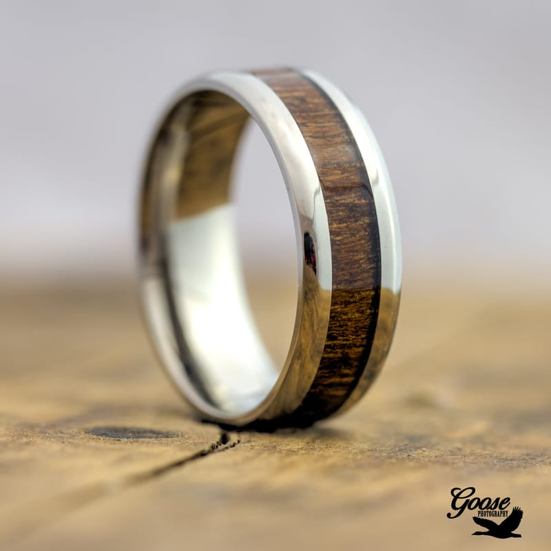 Silver Titanium Ring with Real Wood Inlay