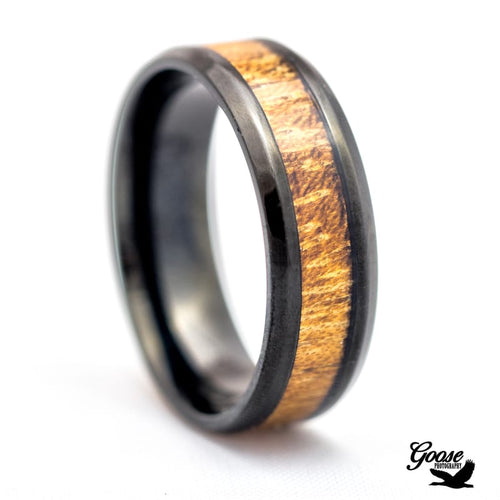 Dark Titanium Ring with Real Wood Inlay