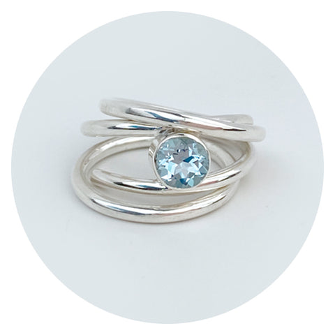 Light Blue Topaz Argentium Silver Ring Band Set - Jewelry Made in California