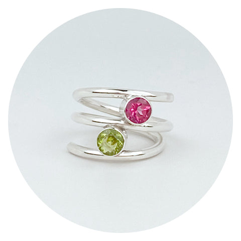 Pink Topaz and Peridot Argentium Silver Ring