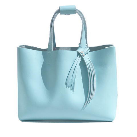 Blue Leather Tote - Bags Made in USA