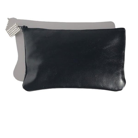 Black Italian Leather Pouch with Crystal Design - Bags Made in USA