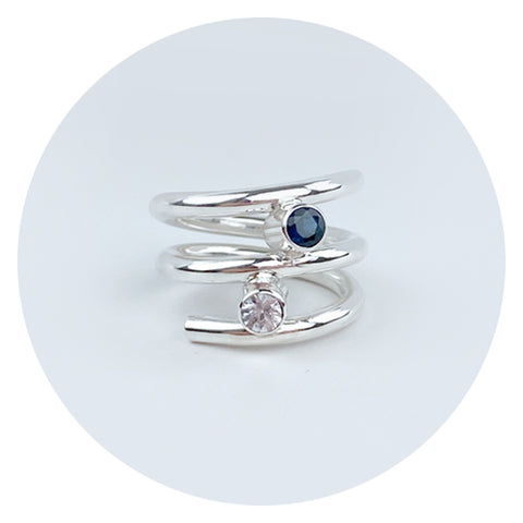 Argentium Silver Ring with White and Blue Sapphires - MONOLISA Rings Made in California