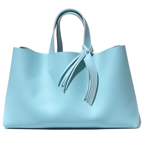Baby Blue Leather Tote Bag with Fringe Crystal Design - MONOLISA Bags Made in California