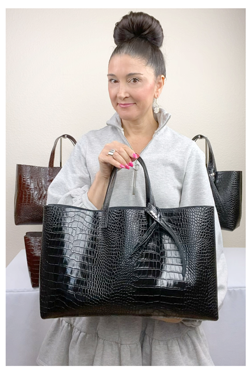 Handbag Designer Lisa Ramos - Featuring Italian Leather Croc Tote Bag