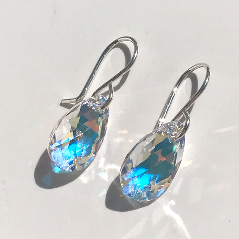 Sterling silver earrings designed with iridescent pear Swarovski crystals