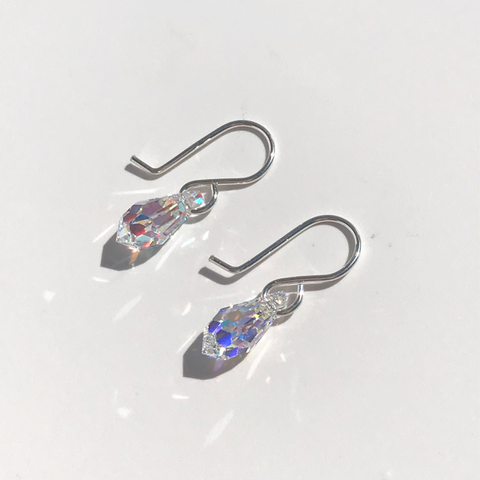 Sterling silver earrings with mini teardrop iridescent Swarovski crystals