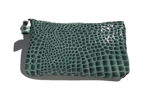 Monique Bag – Green Patent Embossed Croc Leather with Gunmetal Swarovski Ball