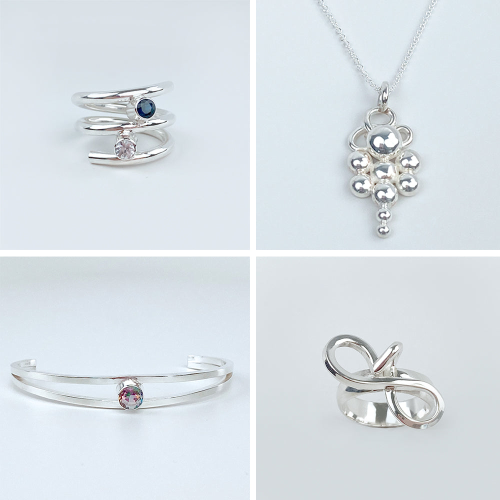 Argentium Silver Jewelry Made in California - Gemstone Rings, Pendant Necklaces, Bracelets and Sculpted Jewelry