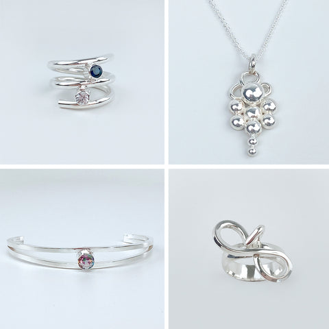Argentium Silver Jewelry Collection - Gemstone Rings, Pendant Necklaces and Bracelets