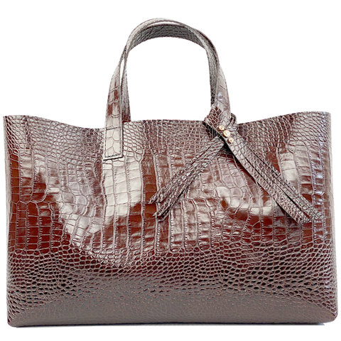 Brown Italian Leather Croc Tote with Fringe Crystal Design - Bags Made in USA