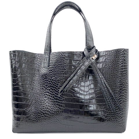 Italian Leather Croc Tote with Fringe Crystal Design - Bags Made in USA