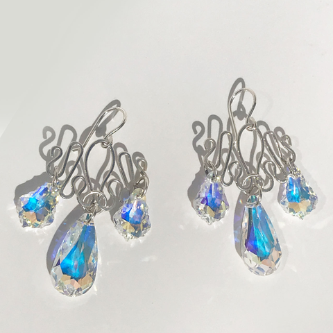 Sterling Chandelier Earrings Featuring Swarovski Crystals - Handmade in California by MONOLISA