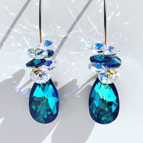 Unique Blue Goddess Bent Hoop Earrings - Swarovski Cluster