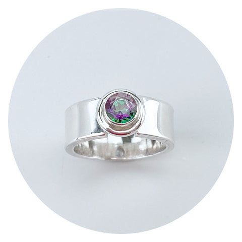 Traditional Sterling Topaz Ring Made in California