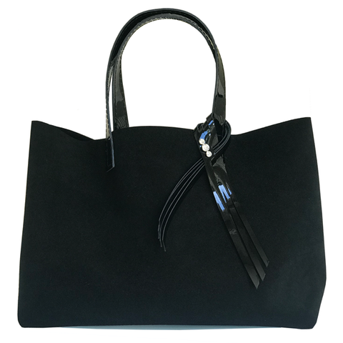 Silk Suede Leather Tote Bag with Fringe Crystal Design - MONOLISA Bags Made in California