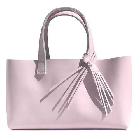 Pink Leather Tote Bag with Fringe Crystal Design - MONOLISA Bags Made in California