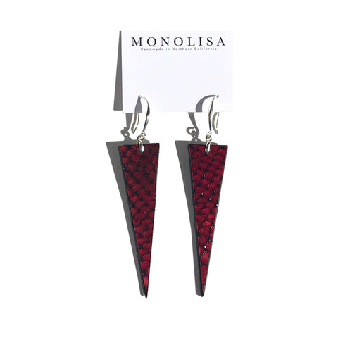 Custom made leather products - Red Embossed Leather Earrings by MONOLISA