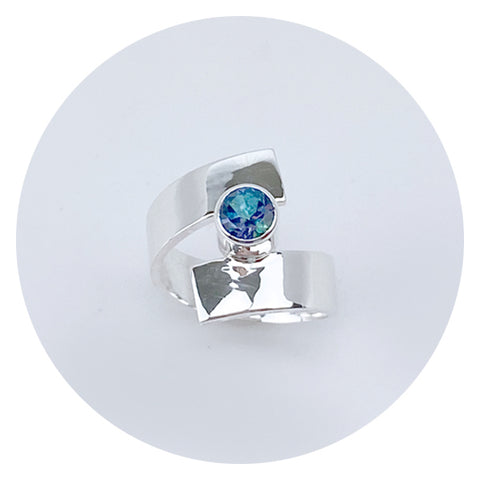 Rainbow Topaz Sterling Ring - Jewelry made in California