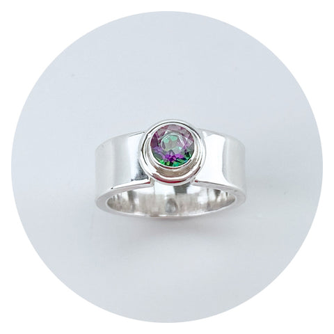 Hues of Green and Purple Topaz Sterling Rings - Jewelry Made in California