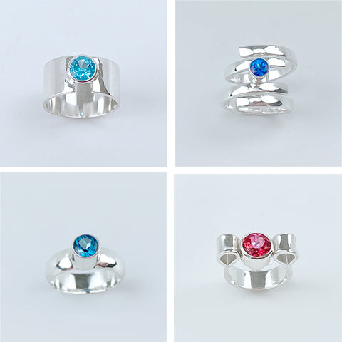 Topaz Rings Collection - Swiss Blue, Sky Blue, London Blue and Blush