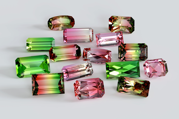 Green and pink tourmaline gemstones - emerald and baguette cut styles