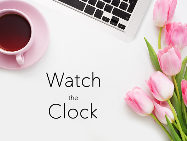 Lisa Ramos Blog: Computer with Coffee and Pink Tulips - Watch the Clock