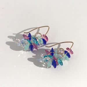 14k Gold Mini Bent Hoop Earrings - Colorful