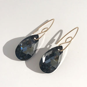 14k Gold Royal Goddess Bent Hoop Earrings - Large Swarovski