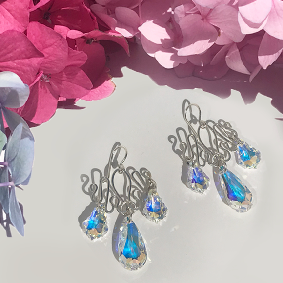 Sculpted Royal Chandelier Sterling Silver Earrings - Swarovski