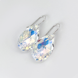 Argentium® Silver Medium Pear Crystal Earrings- Yellow Iridescence