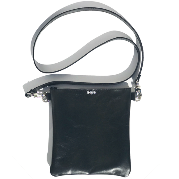 Black Italian Square Leather Classic Strap Bag 46 – Swarovski