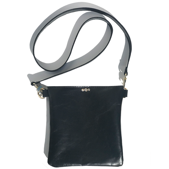 Black Italian Square Leather Classic Strap Bag 47 – Swarovski