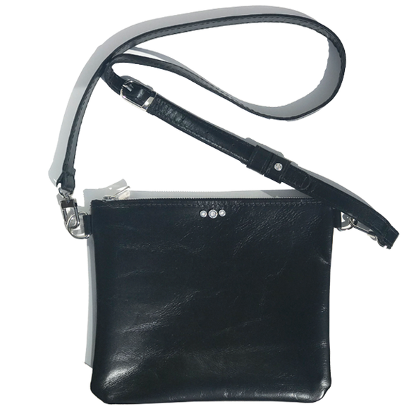 Black Italian Square Leather Adjustable Strap Bag – Clear Crystals (Bag 57)