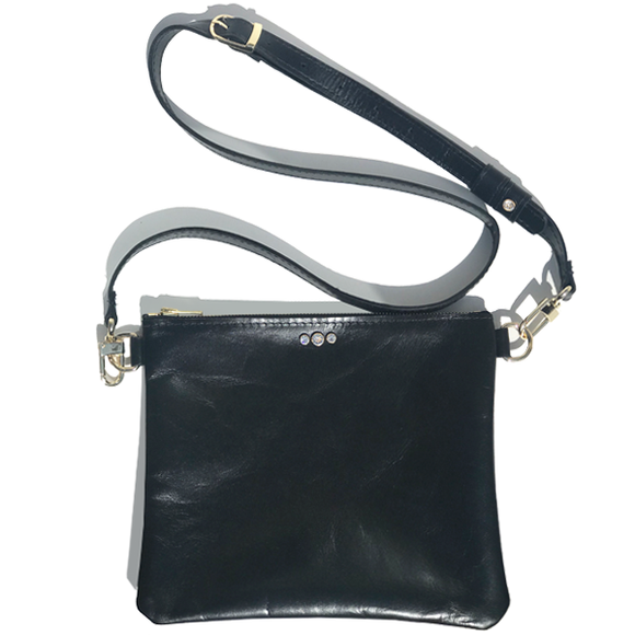 Black Italian Square Leather Adjustable Strap Bag – Clear Crystals (Bag 58)