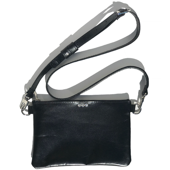 Black Italian Clutch Leather Adjustable Strap Bag – Swarovski (Bag 50)