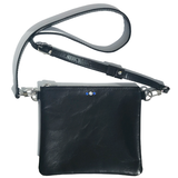 Black Italian Clutch Leather Adjustable Strap Bag – Blue and Clear Crystals (Bag 55)