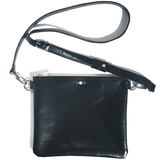 Black Italian Square Leather Adjustable Strap Bag – Crystals (Bag 56)