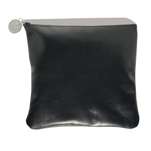 Monique Tall Bag – Soft Black Leather with 42 Clear Swarovski Crystals