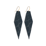 Patent Leather Diamond Shape Earrings with 22K Ear Wire