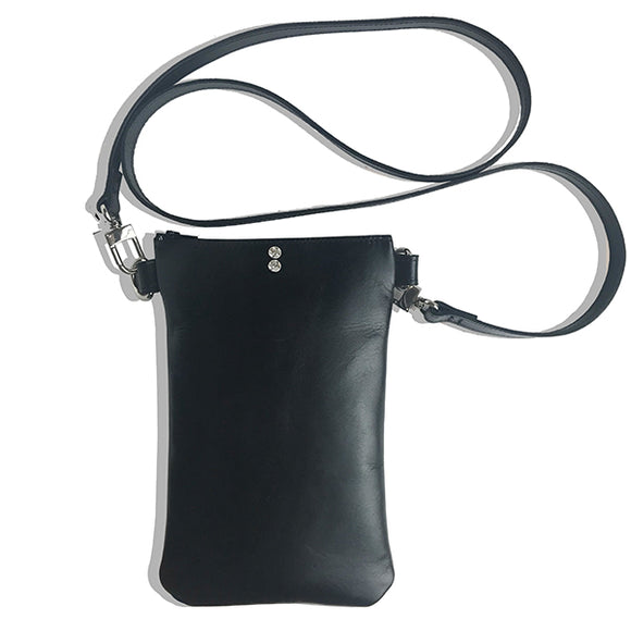 Italian Leather Tall Strap Bag 11 – Featuring Two Swarovski